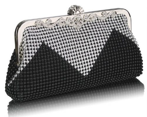 Black Silver Vintage Beaded Crystal Clutch Bag